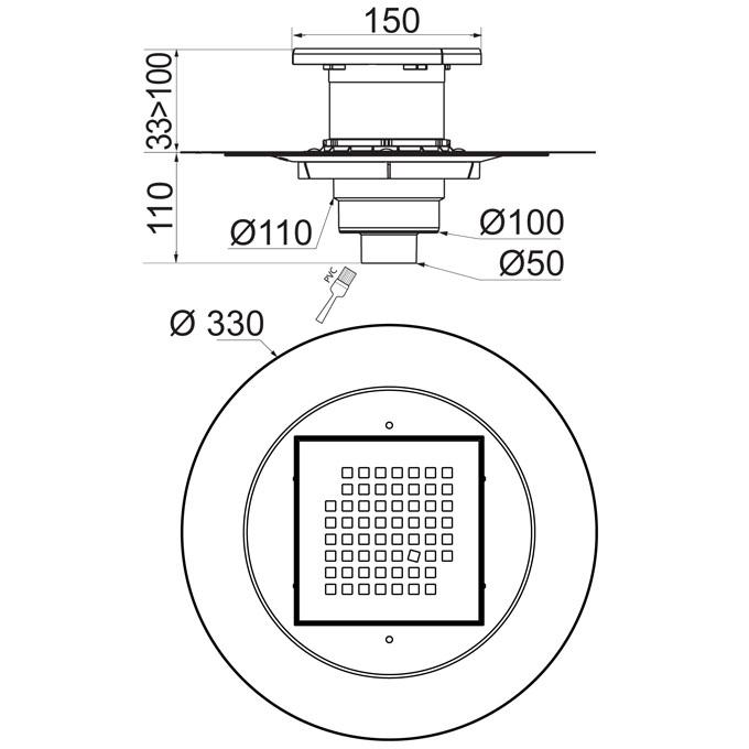 Venisio siphon de sol sortie verticale pour douche l 39 italienne wirquin pro - Siphon de douche italienne ...