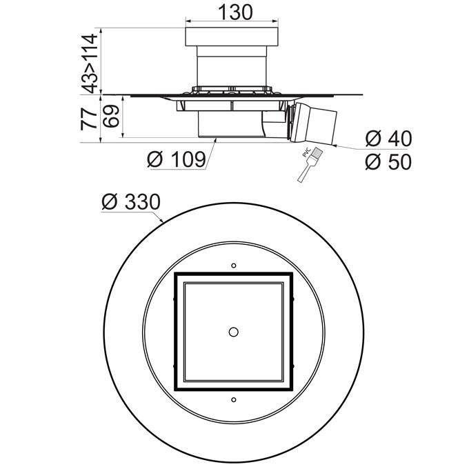 venisio siphon de sol sortie horizontale pour douche l. Black Bedroom Furniture Sets. Home Design Ideas