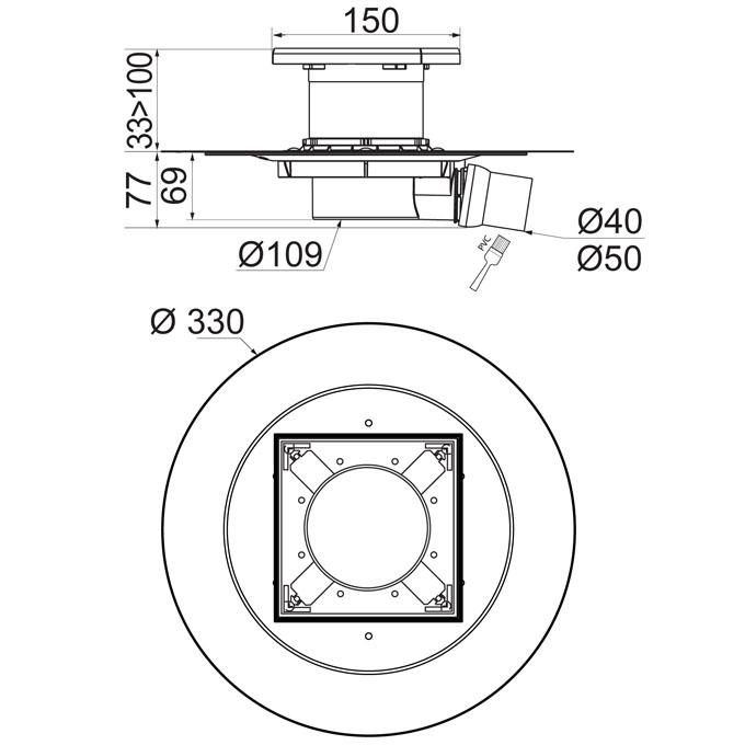 venisio siphon de sol sortie horizontale sans grille pour douche l 39 italienne wirquin pro. Black Bedroom Furniture Sets. Home Design Ideas