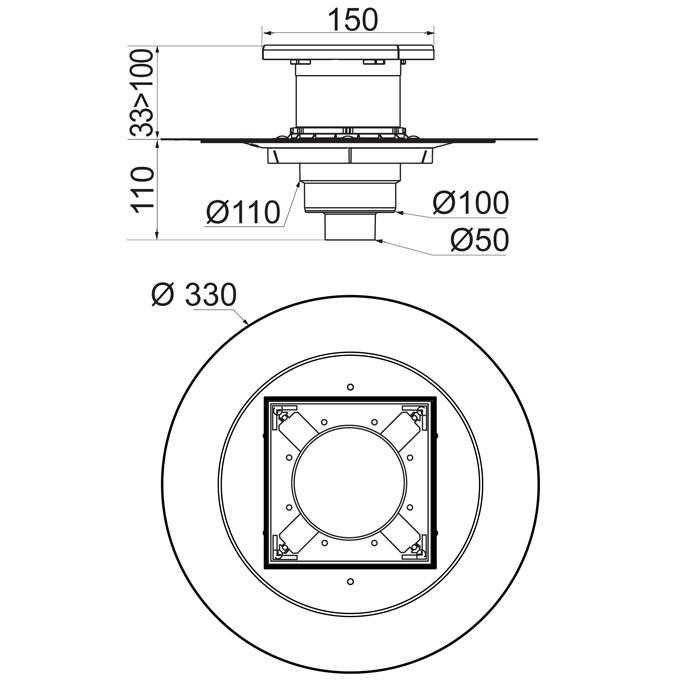 venisio siphon de sol sortie verticale sans grille pour. Black Bedroom Furniture Sets. Home Design Ideas