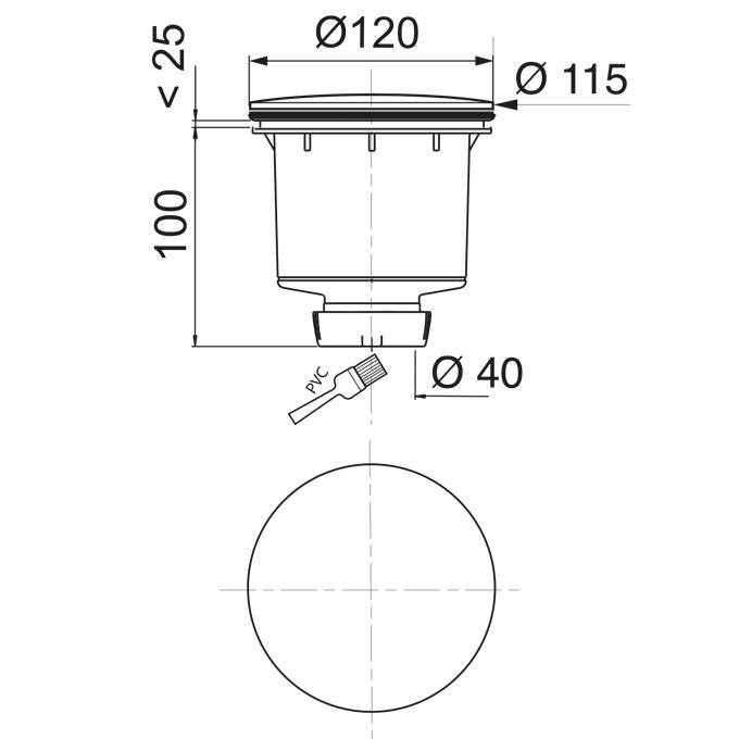 tourbillon bonde de douche verticale 90 mm d me abs wirquin pro. Black Bedroom Furniture Sets. Home Design Ideas