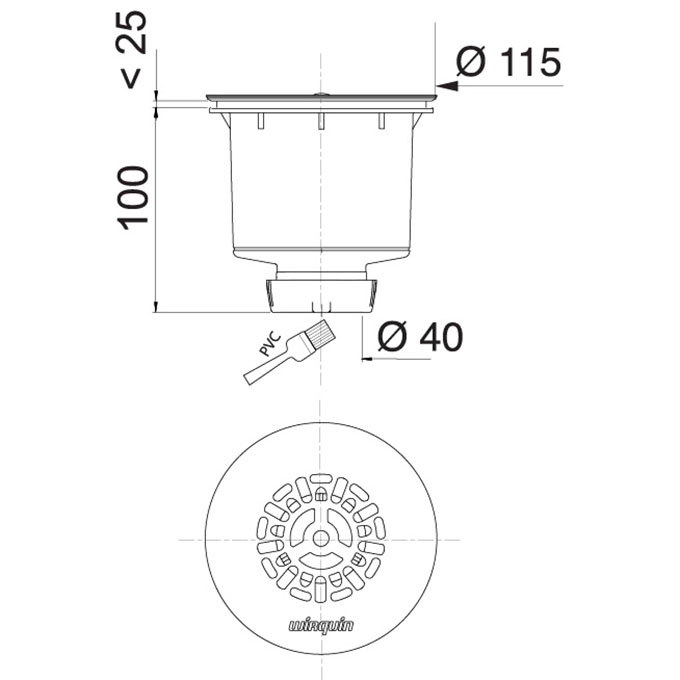 tourbillon bonde de douche verticale 90 mm wirquin pro. Black Bedroom Furniture Sets. Home Design Ideas