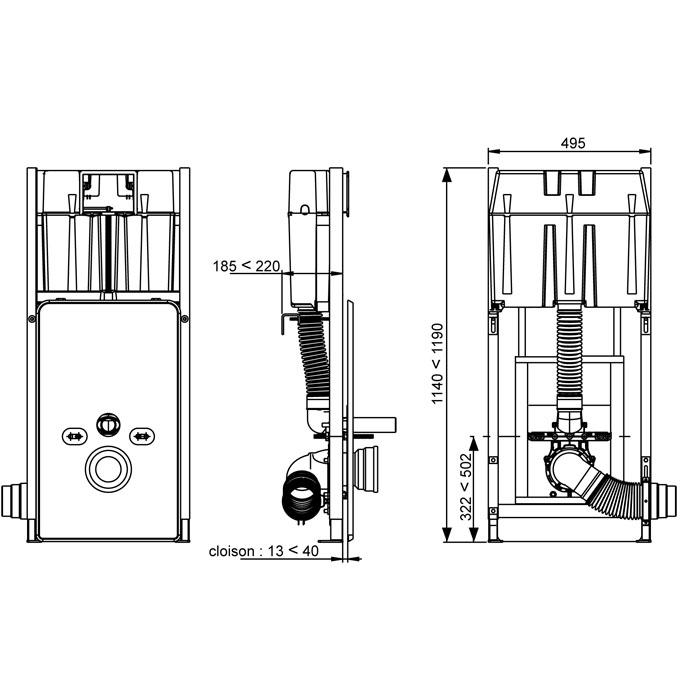 Wc suspendu reglable en hauteur for Hauteur bati wc suspendu