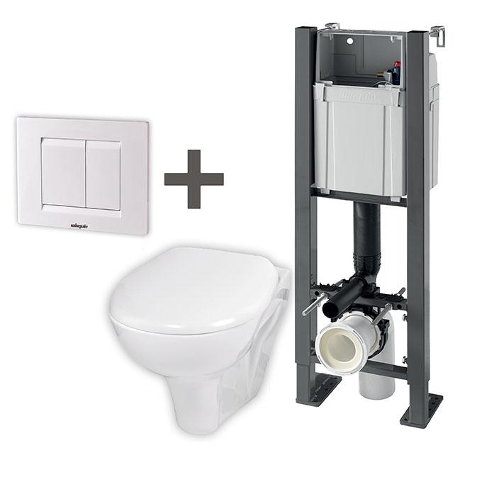 compact b ti support autoportant plaque blanche cuvette abattant wirquin pro. Black Bedroom Furniture Sets. Home Design Ideas