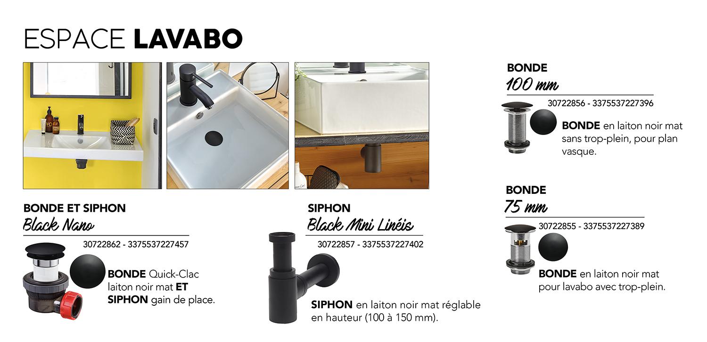 Wirquin 30722856 Bonde de lavabo fermeture quick-clac Black Touch